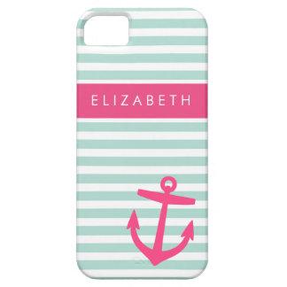 Mint & Pink Nautical Stripes Cute Anchor Monogram iPhone SE/5/5s Case