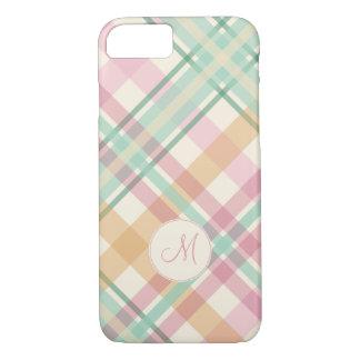 mint pink raspberry orange pastels plaid monogram iPhone 7 case