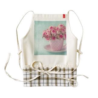 mint,pink roses,shabby chic,elegant,hipster,modern zazzle HEART apron