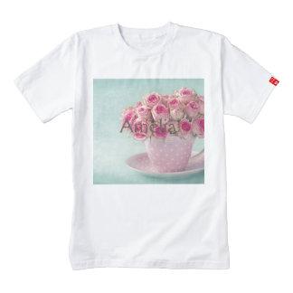 mint,pink roses,shabby chic,elegant,hipster,modern zazzle HEART T-Shirt