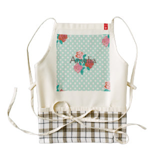 Mint,pink,shabby,country,chic,girly,trendy,floral, Zazzle HEART Apron
