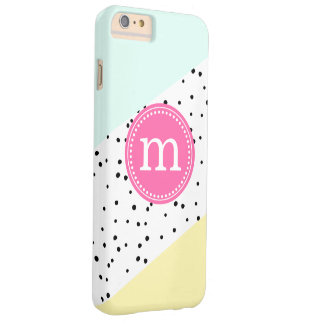 Mint, Pink & Yellow Summer Personalized Monogram Barely There iPhone 6 Plus Case