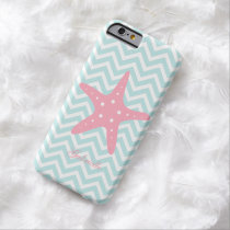 Mint & Pink Zigzag Pattern Starfish Barely There iPhone 6 Case