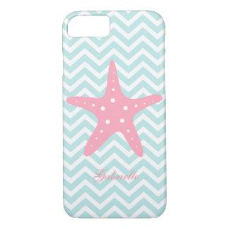 Mint & Pink Zigzag Pattern Starfish iPhone 7 Case