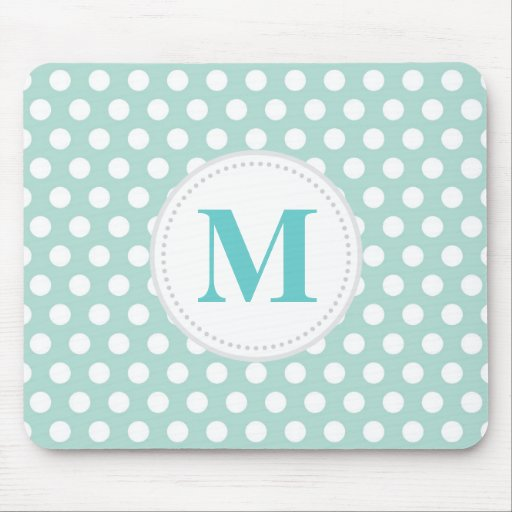 Mint Polka Dot Mouse Pad