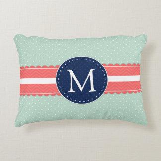 Mint Polka Dot Pattern Coral Navy Blue Monogram Decorative Pillow