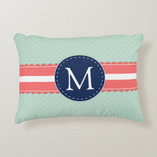 mint polka dot pattern coral navy blue monogram decorative pillow