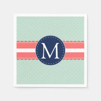 Mint Polka Dot Pattern Coral Navy Blue Monogram Napkin