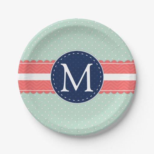 mint polka dot pattern coral navy blue monogram paper plate zazzle. Black Bedroom Furniture Sets. Home Design Ideas