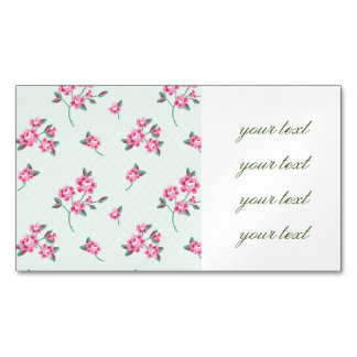 mint,polka dot,roses,shabby chic,pattern,girly,tre business card magnet