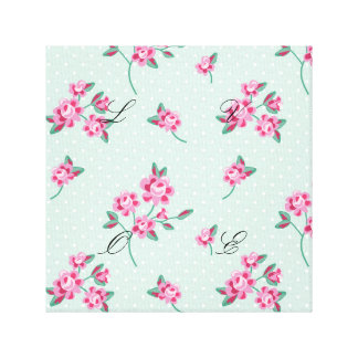 mint,polka dot,roses,shabby chic,pattern,girly,tre canvas print