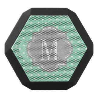 Mint Polka Dot with Gray Monogram Black Bluetooth Speaker