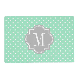 Mint Polka Dot with Gray Monogram Placemat