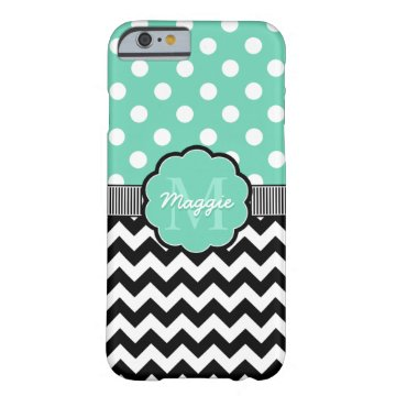 Mint Polka Dots Black Chevron Monogram Barely There iPhone 6 Case at Zazzle