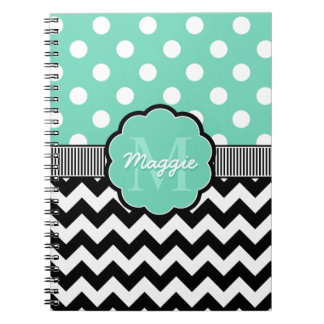 Mint Polka Dots Black Chevron Monogram Notebook