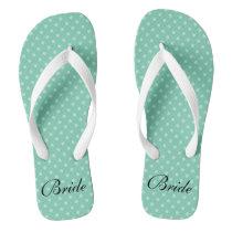 Mint polka dots pattern wedding bride flip flops