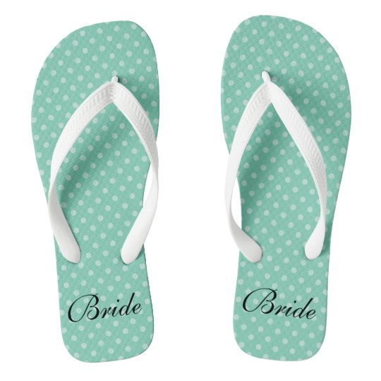 64a2e2202 Mint polka dots pattern wedding bride flip flops