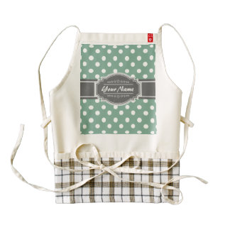 mint Polka Dots with gray personalized name Zazzle HEART Apron