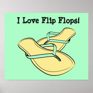 Mint Pop Art Flip Flops Poster