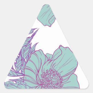 Mint poppies triangle sticker