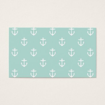 Professional Business Mint Preppy Anchors Blank Business Card Template