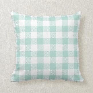 Mint Preppy Buffalo Check Plaid Pillows