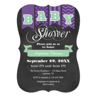 Mint Purple Chalkboard Flag Baby Shower Invite