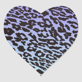 mint & purple fade leopard heart sticker