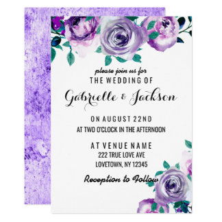 Mint & Purple Floral Rose Wedding Invitations