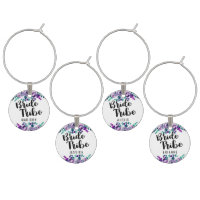 Mint & Purple Floral Wedding Bride Tribe Wine Glass Charm