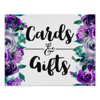 Mint & Purple Floral Wedding Cards & Gifts Poster