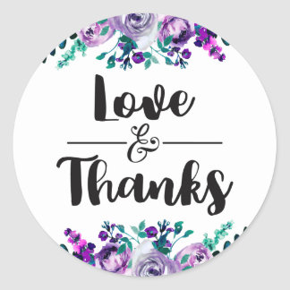 Mint & Purple Floral Wedding Love & Thanks Favor Classic Round Sticker