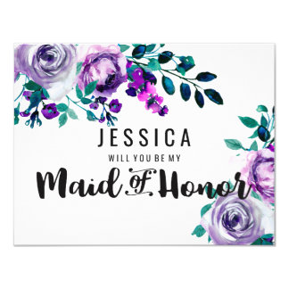 Mint & Purple Floral Will You Be My Maid of Honor Invitation