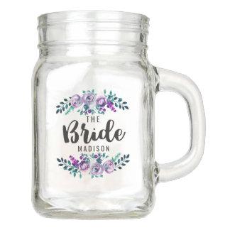 Mint & Purple Floral Wreath Wedding Bride Mason Jar