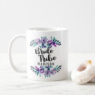 Mint & Purple Floral Wreath Wedding Bride Tribe Coffee Mug