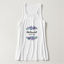 Mint & Purple Floral Wreath Wedding Bridesmaid Tank Top