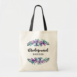 Mint & Purple Floral Wreath Wedding Bridesmaid Tote Bag
