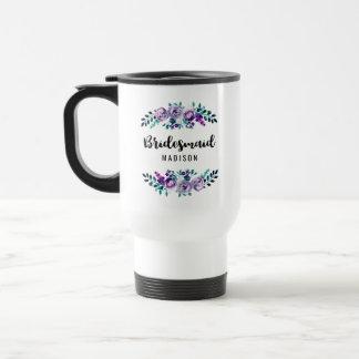 Mint & Purple Floral Wreath Wedding Bridesmaid Travel Mug