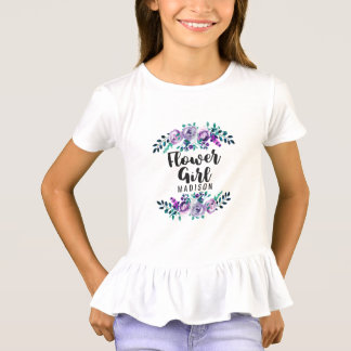 Mint & Purple Floral Wreath Wedding Flower Girl T-Shirt