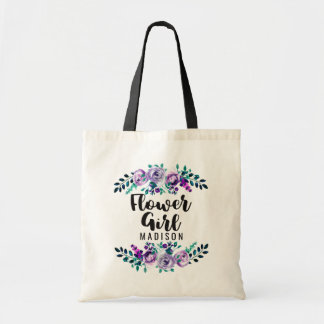 Mint & Purple Floral Wreath Wedding Flower Girl Tote Bag
