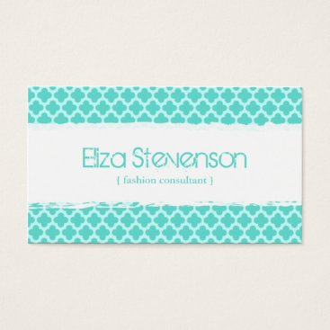 Professional Business Mint Quatrefoil Fashion Consultant Business Card