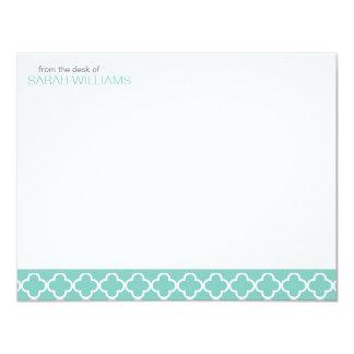 Mint Quatrefoil Flat Thank You Notes Card