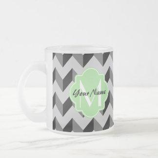 Mint Quatrefoil Monogram Black and Gray Chevron Frosted Glass Coffee Mug