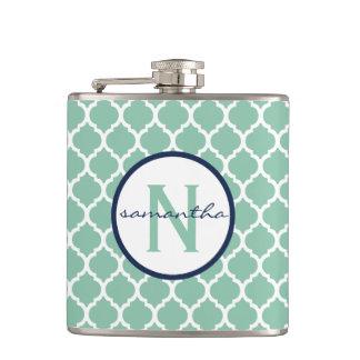 Mint Quatrefoil Monogram Hip Flask