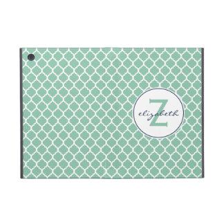 Mint Quatrefoil Monogram Covers For iPad Mini
