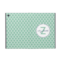 Mint Quatrefoil Monogram iPad Mini Case