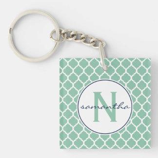 Mint Quatrefoil Monogram Square Acrylic Key Chains