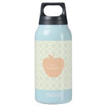 Mint Quatrefoil & Peach Apple Teacher Insulated Water Bottle