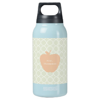 Mint Quatrefoil & Peach Apple Teacher Insulated Water Bottle