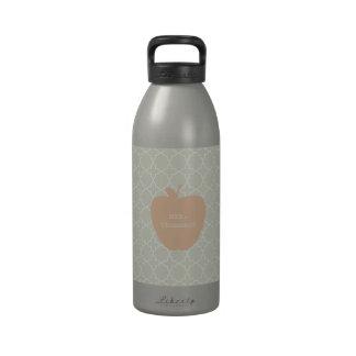 Mint Quatrefoil & Peach Apple Teacher Water Bottles